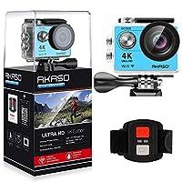 Cámara de acción deportiva Wi-Fi AKASO 4K Ultra HD videocámara DV impermeable 12MP Pantalla LCD de gran angular de 170 grados /control remoto, azul real (EK7000BL)