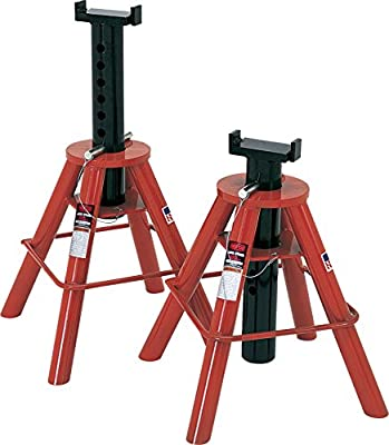 Norco Professional Lifting Equipment 81208 Low Profile 10 Ton Capacity Jack Stands - Pin Type (Set of 2)
