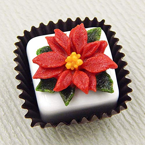 Christmas Poinsettia Handmade Art Glass White Chocolate Petit Four Gift Home Décor