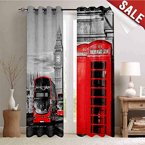 London, Window Curtain Fabric, London Telephone Booth in The Street Traditional Local Cultural Icon England UK Retro, Drapes for Living Room, W96 x L96 Inch Red Grey