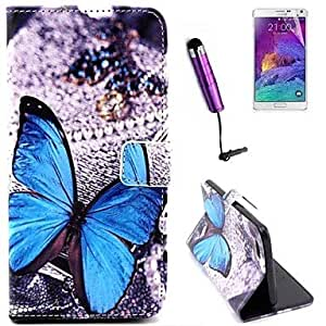 SHOUJIKE Blue Butterfly Pattern PU Leather Full Body Cover with Card Stylus and Protective Slot for iPhone 6 Plus