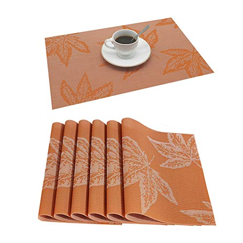 Palmhill Maple Leaf Place Mats, Placemats Fall Placemats Set of 6 Easy to Clean Heat Resistant Waterproof Non Slip for Dining Kitchen Harvest Season Christmas Thanksgiving Day Halloween (Orange)
