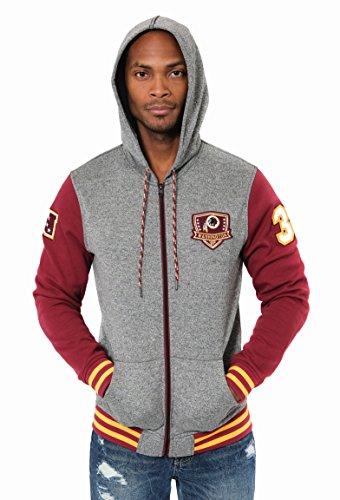 Icer Brands NFL Men's Washington Redskins Full Zip Fleece Hoodie Letterman Varsity Jacket, Medium, Maroon