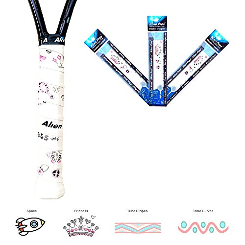 Alien Pros X-Dry Tennis Overgrip Tape perfect for your tennis racket, racquetball grip, squash racquet and more. 3-Pack, Princess Theme Design (Prince Cushion Grip)