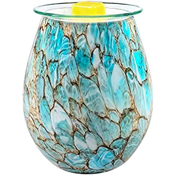 SUNPIN Electric Candle Warmer Art Glass Aromatherapy Wax Melts Burner Aroma Night Light Decorative Lamp for Gifts Home and Decor (Light Blue)