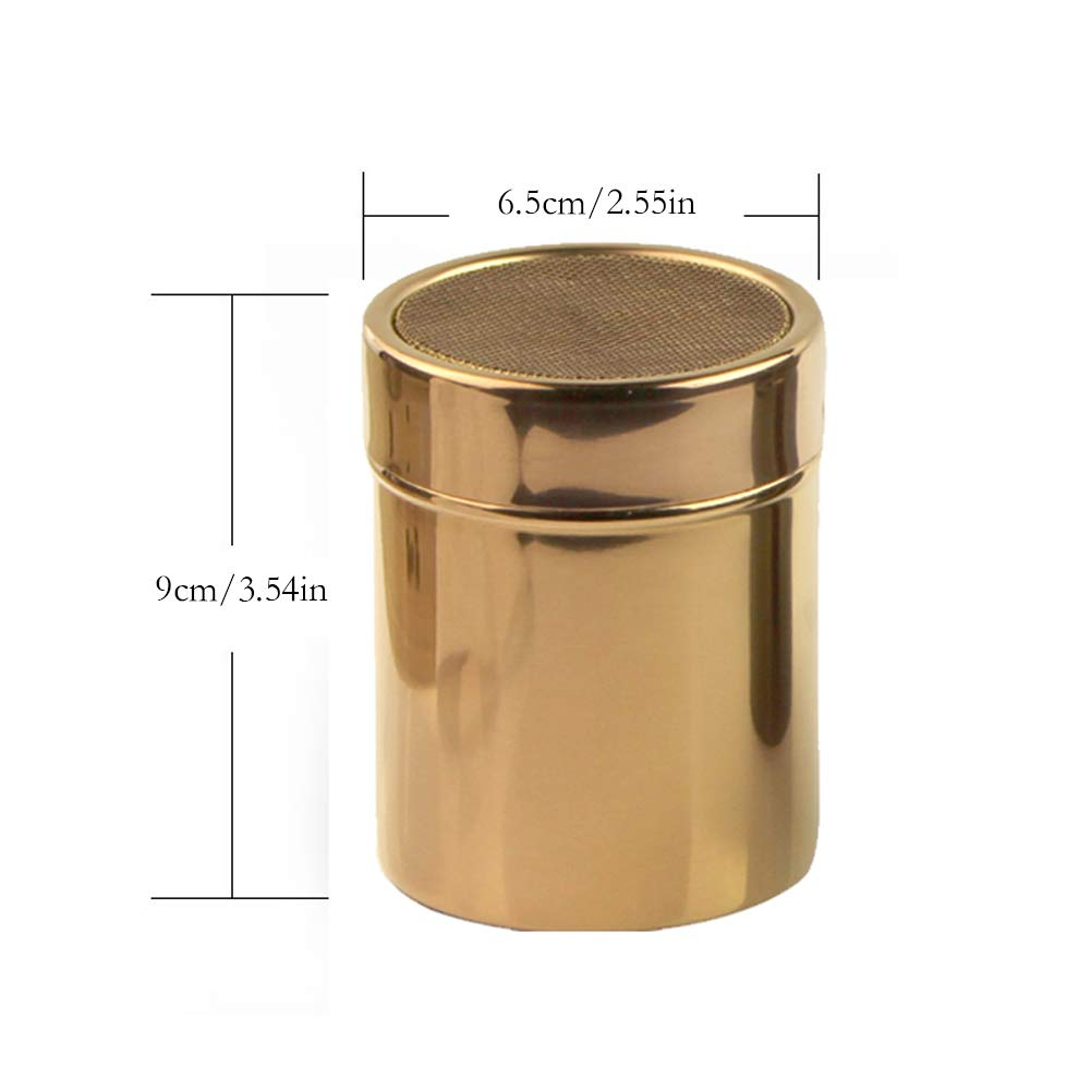 Stainless Steel Powder Shakers - Cooking Tools Icing Sugar Cake Powder Flour Coffee Sifter 8 Pcs Coffee Decorating Stencils (Rose Gold) by Chinashow (Image #2)