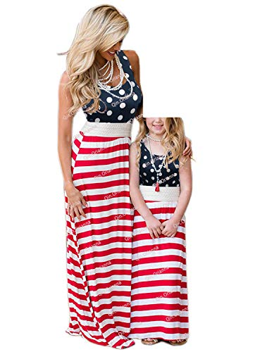 Qin.Orianna Mommy and Me Matching Maxi Dresses,Sleeveless Top Bohemia Floral Printed Matching Outfits with Pockets (Child 5-6T, Flag)