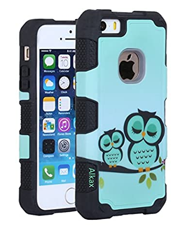 iPhone 5S Case , iPhone SE Case , iPhone 5 Case, Alkax Heavy Duty Non Slip Rugged Dual Layer Hybrid TPU & Hard PC Back Cover Armor Protective Bumper For iPhone 5S + 1 Stylus Pen - Navy Blue Chrome Pen