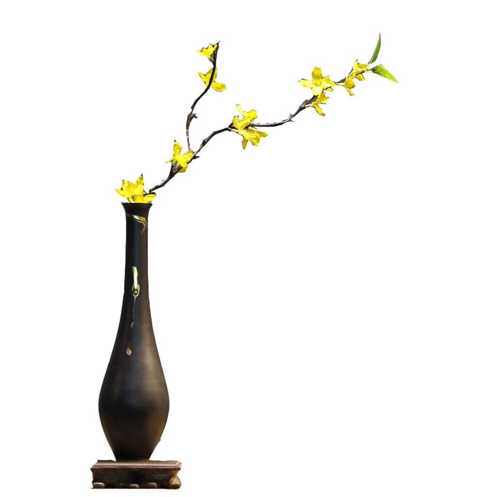 新しい中国のセラミック花瓶装飾家のリビングルームドライフラワー手作りの装飾花瓶の装飾ブラウン QYSZYG B07QRZMHQG