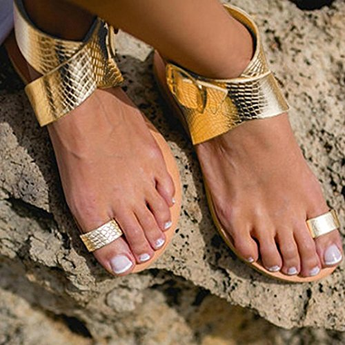 AIMTOPPY HOT Sale, Women Cross Belt Rome Strappy Gladiator Low Flat Flip Flops Beach Sandals Shoes (US:8, Gold)