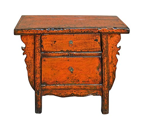 Chinese Side Table (Chinese Rustic Rough Wood Distressed Orange Side Table Cabinet Acs3148)