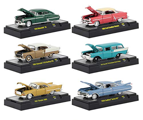 Auto Thentics 6 Piece Set Release 53 in Display Cases 1/64 Diecast Model Cars by M2 Machines 32500-53 ()