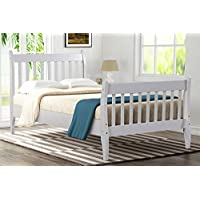 Merax Wood Platform Bed Frame Mattress Foundation with Wood Slat Support, Twin (White)