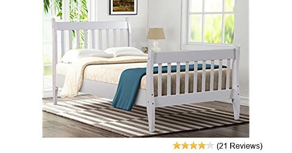 Merax Platform Bed Frame Mattress Foundation With With Wood Slat Support Twin White