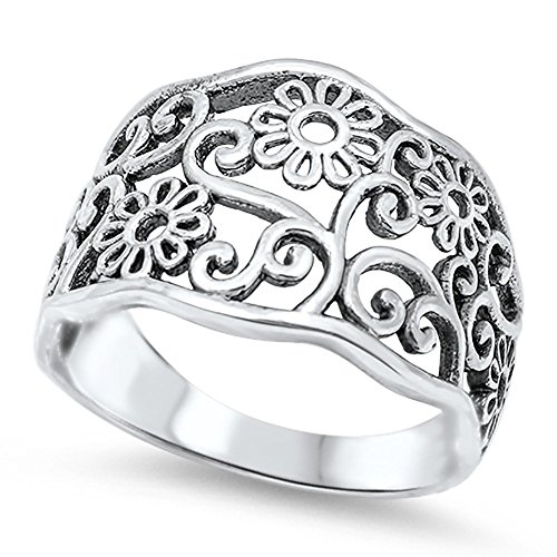 Women's Flower Filigree Cutout Fashion Ring .925 Sterling Silver Band Size 6