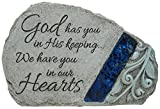 Carson Memorial Garden Stone With Blue Mosaic Solar Accent - God Has You In His Keeping We Have You In Our Hearts