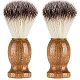 TrimakeShop Men's Shaving Brush Wood Handle Synthetic Hair Professional Salon Tool for for Shaving Razor (2 Pack)