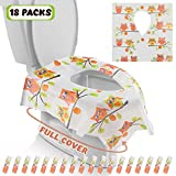Gimars XL Large Full Cover Disposable Travel Toilet Potty Seat Covers - Individually Wrapped Portable Potty Shields for Adult, The Pregnant, Kids and Toddler Potty Training, 18 Packs (Owl Design): more info