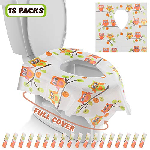 Gimars XL Large Full Cover Disposable Travel Toilet Potty Seat Covers - Individually Wrapped Portable Potty Shields for Adult, The Pregnant, Kids and Toddler Potty Training, 18 Packs (Owl Design) (Potette Plus 30 Pack Value Pack Liners)