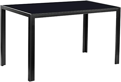 SSLine Glass Dining Table Rectangular Kitchen Dining Room Table Black Dinner Table w Metal Leg Tempered Glass Top