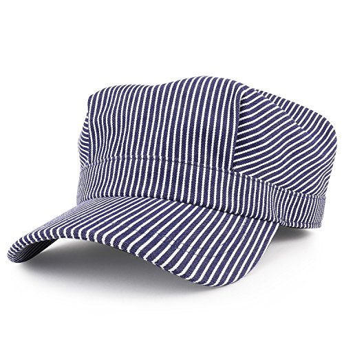 (Armycrew Denim Blue Stripe Train Engineer Conductor Cap Fits Infant to Adult 2XL - Blue -)