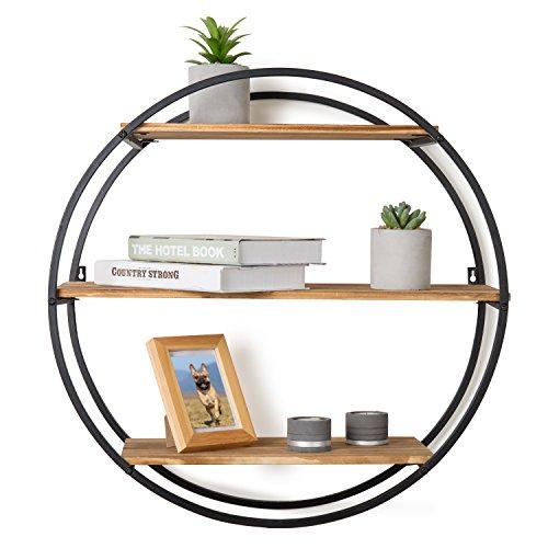 (MyGift Industrial Modern 22-Inch Circle-Frame 3-Tier Floating Shelf)