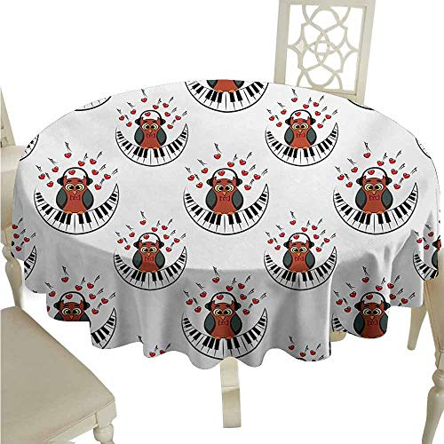 (duommhome Owls Oil-Proof Tablecloth Musician Pianist Owl with Headphones and Playing a Moon Shaped Piano Clipart Style Easy Care D71 Brown Grey Red)