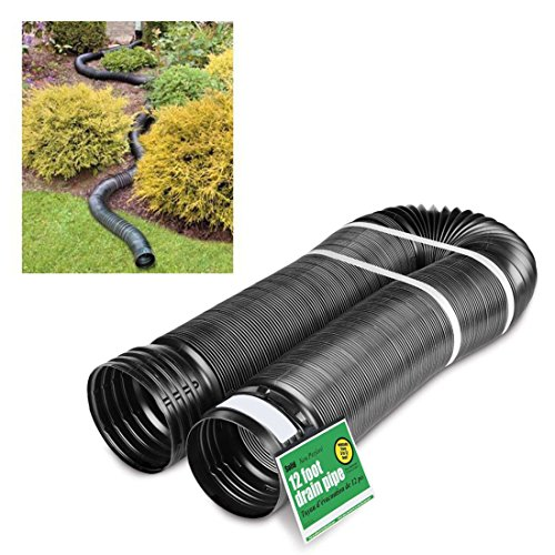 - Solid Corrugated Expandable Flexible Landscape Drain Pipe, 4-Inch by 12-Feet