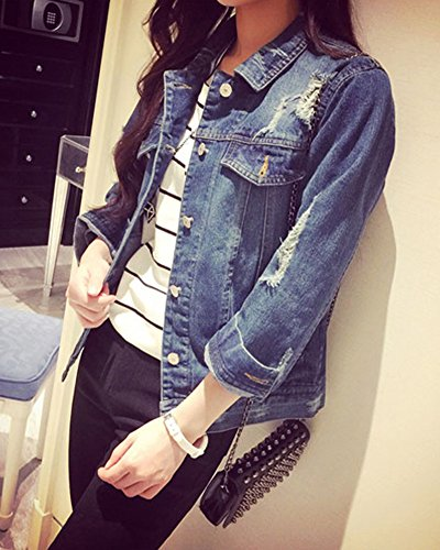 Tinta Blu Unita Strappati Di Lavaggio Donna Lunga In Giacca Denim Jeans Oversize Giacche Manica xTqHXB