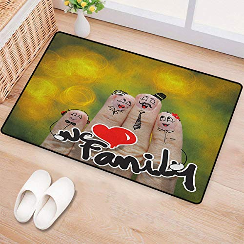 Family,Door Mats for Home,Happy Finger Family Holding We Love Family Words Hugging Smiling Funny Cute Artwork,Bath Mat Bathroom Mat with Non Slip,Multicolor,Size:20