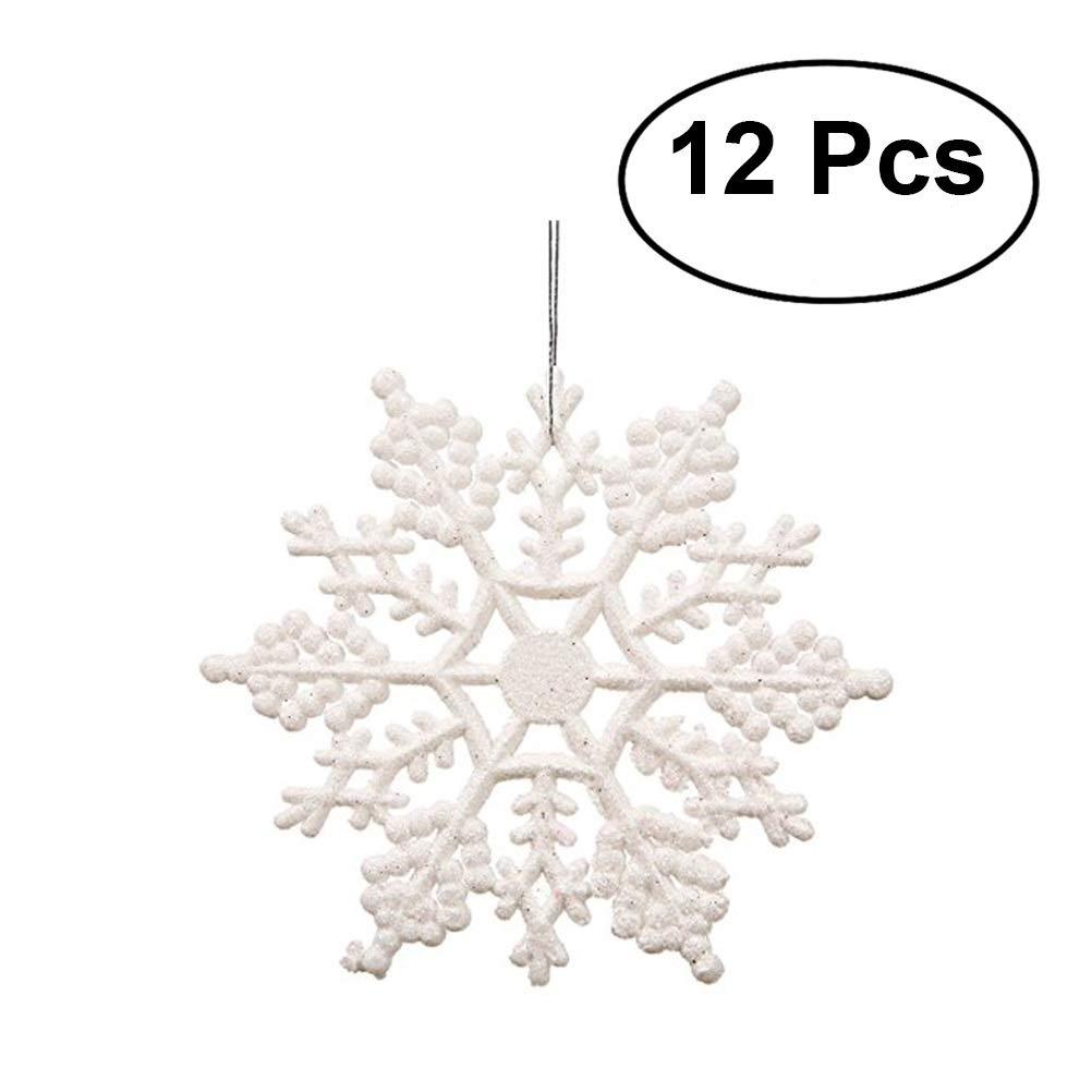 OULII Floco de nieve de plástico 10 cm Árbol de Navidad copos de ...