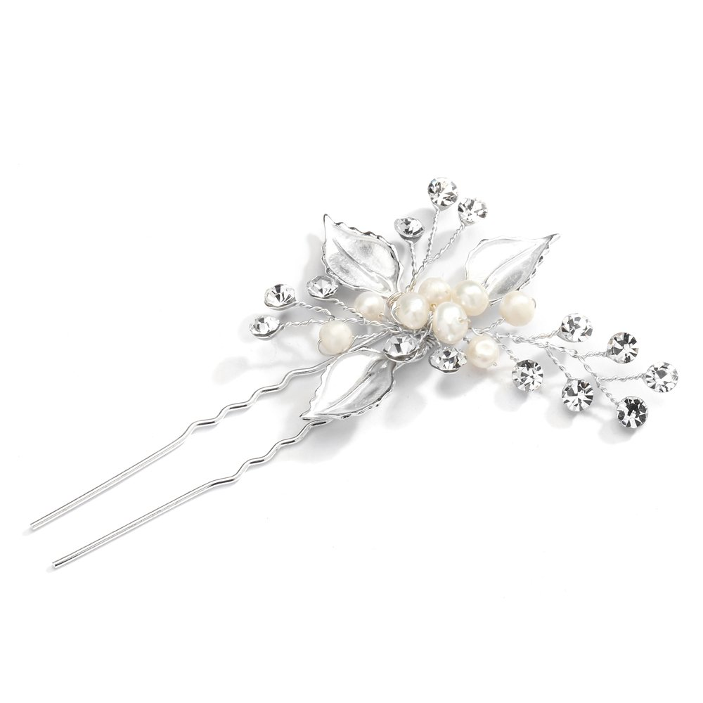 Mariell Bridal Hair Pin Stick with Hand-Painted Silver Leaves, Freshwater Pearl and Crystal Sprays