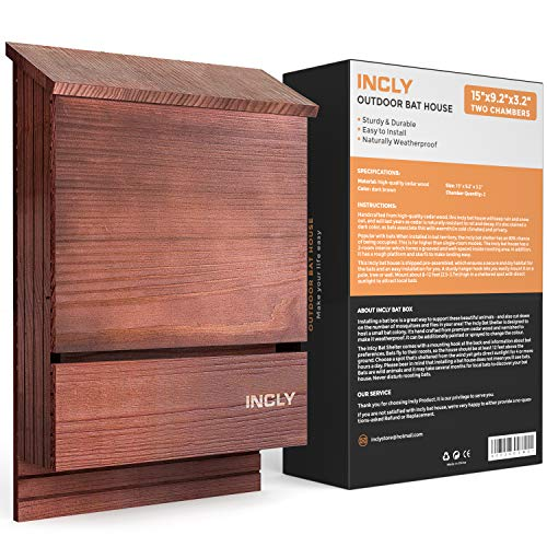 "INCLY Bat House Kit for Outdoors 15""x9.2""x3.2"" Shelter Box Roosting Double Chamber Dark Natural Cedar Wood, Pre-Finished Easy to Install"
