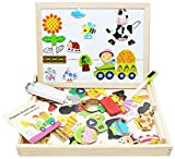 Toys : Lewo Wooden Kids Educational Toys Magnetic Easel Double Side Dry Erase Board Puzzles Games for Boys Girls