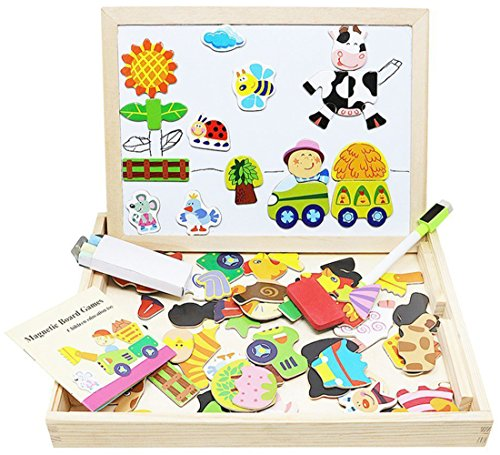Lewo Wooden Kids Educational Toys Magnetic Easel Double Side Dry Erase Board Puzzles Games for Boys Girls