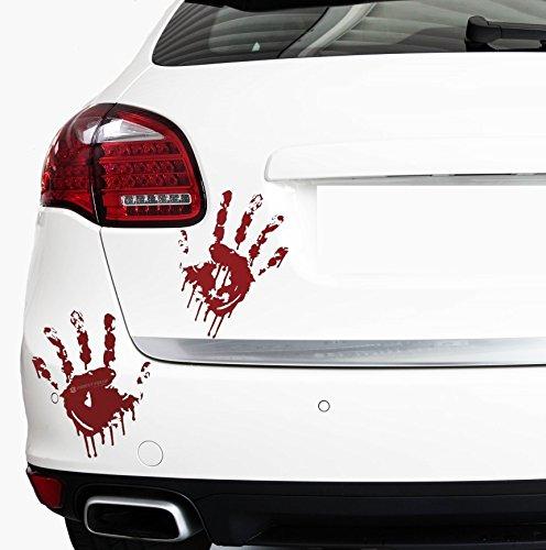 2 sanguinose mani di Finest-Folia ognuno 22 cm tracce di sangue parabrezza adesivo per auto. Finest-Folia UG