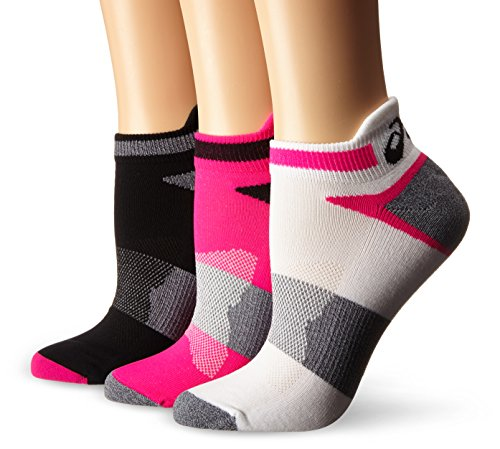 ASICS Women's Quick Lyte Cushion Single Tab Running Socks, Pink Glow/Black, Medium,Pack of 3