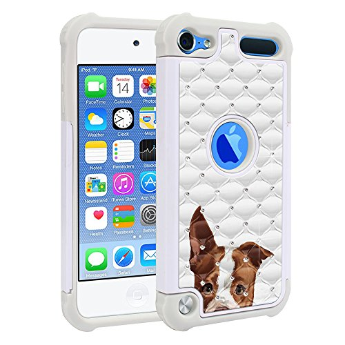 (FINCIBO Case Compatible with Apple iPod Touch 5 6th Generation, Dual Layer Shock Proof Hybrid Protector Case Cover TPU Sparkle Rhinestone Bling for iPod Touch 5 6 - Brown American Pit Bull Puppy Dog)