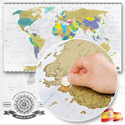 Goods & Gadgets Scrape Off World Map XXL - Mapa del Mundo para rascar versione spagnola - viajeros Personalizado Póster: Amazon.es: Hogar