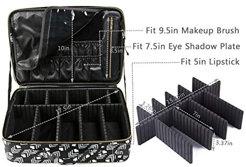 8a452a9e42a7 ROWNYEON Makeup Train Case Travel Makeup Bag Travel Cosmetic Bag  Professional Portable Makeup Artist Bag Organizer with EVA Adjustable  Dividers In ...