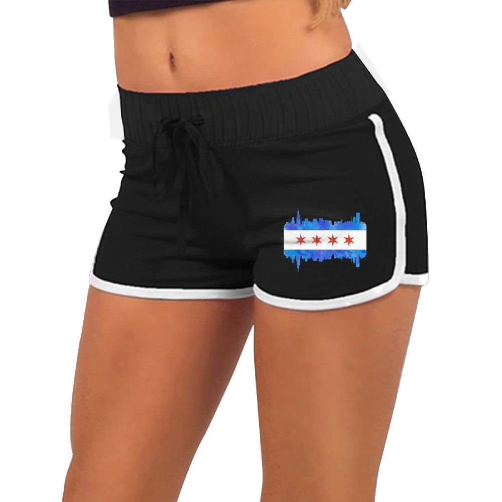 Qweoof Chicago State Flag Watercolor City Skyline Women's Elastic Waist White Outline Active Lounge Shorts XL by Qweoof