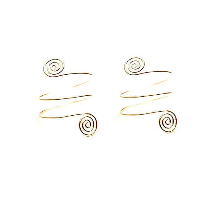 2PCS//Set Punk Spiral Swirl Wrap Arm Circle Cuff Armlet Women Chic Gold Metal Spiral Armband Men Hiphop Jewelry