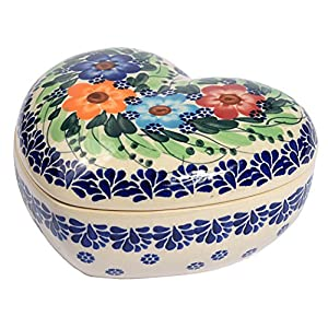 Traditional Polish Pottery, Handcrafted Ceramic Heart-Shaped Box (275ml), Boleslawiec Style Pattern, D.401.GARLAND
