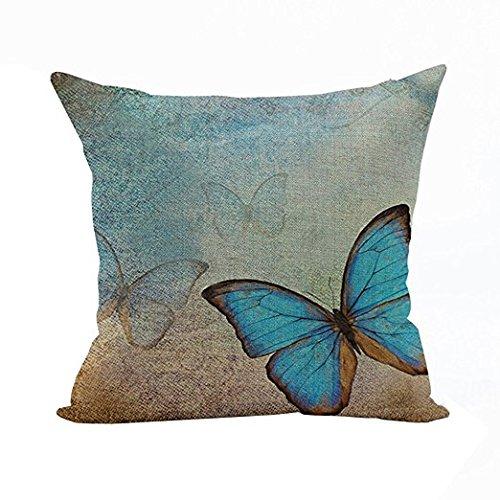 tfxwerws azul Mariposa lino funda de almohada coche cojín ...