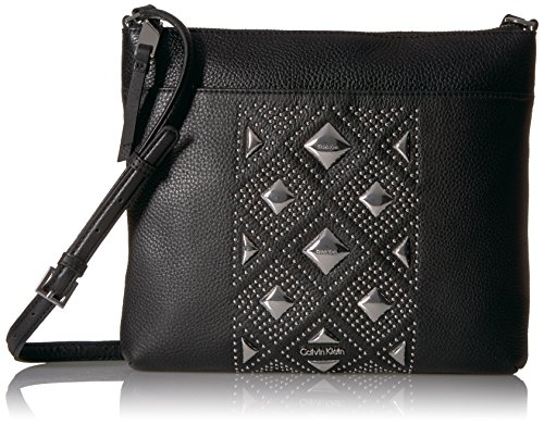 Pyramid Stud Cross - Calvin Klein Classic Pebble Key Item All-Over Pyramid Stud Embellished Crossbody Cross Body, BLK PYRAMID, One Size