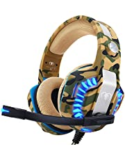 Beexcellent Casque PS4 Gaming,Casque Gamer Professionnel Audio Stéréo avec Micro à Réduction du Bruit 3.5mm Jack Over Ear Comfortable avec Lumière LED pour Xbox One PC Laptop Tablette