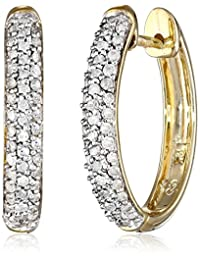 10k Gold Oval Pave Diamond Hoop Earrings (1/2 cttw, H-I Color, I2-I3 Clarity)