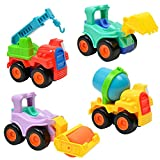 Gbell 4Pcs Mini Inertia Car Toys, Push and Go! Educational Cartoon Friction Simulation Car Model Toy...