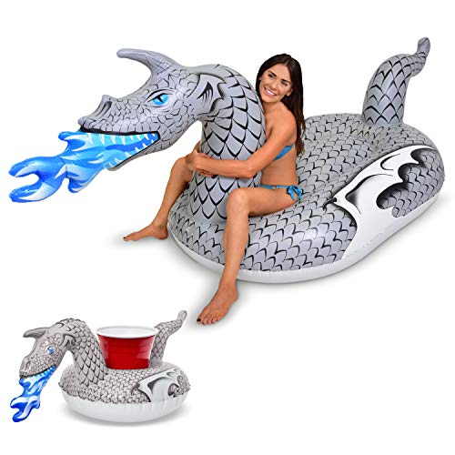 (GoFloats Giant Inflatable Ice Dragon | Includes Bonus Ice Dragon Drink Float | New for)