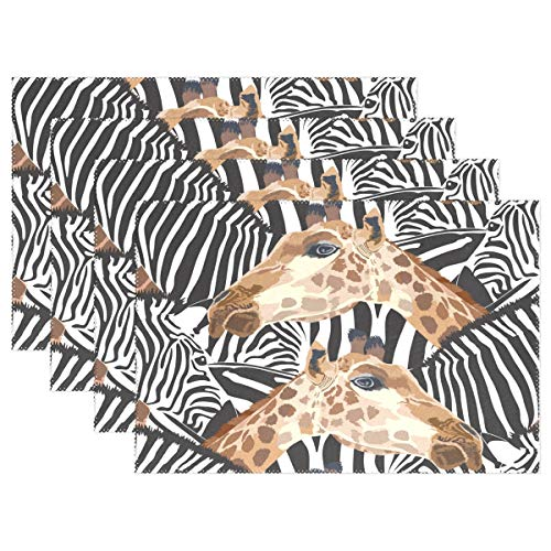ALAZA Zebra Giraffe Placemats Dining Table Heat Resistant Kitchen Table Decor Washable Table Mats Set of 6